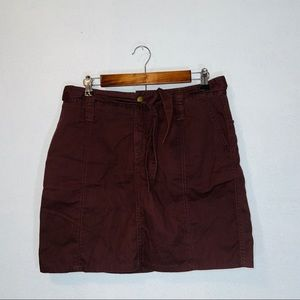 NWT free people red brown mini cargo skirt